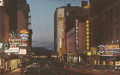 Spokane Washington Wall Street at Night 1950's