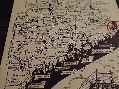 Maine Road Map Postcard From Eastport Maine