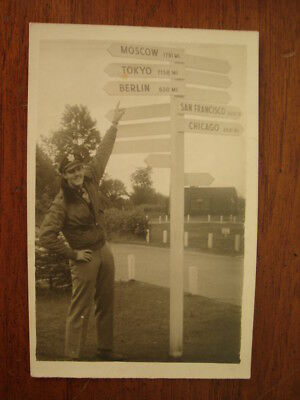 Old 1944 Rppc Photo Postcard Us Army Officer Soldier Berlin Moscow Tokyo Sign