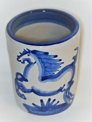 M.A. Hadley Blue Horse Tumbler*VTG USA*Hand Painted Pottery Soneware