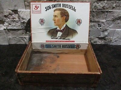 Rare ~ Antique  Sol Smith Russell Wooden Cigar Box  & Label ~ Vintage