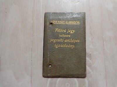 RARE 1915-1916 WW1 Hungarian Leather Passport Man in Military Clothing