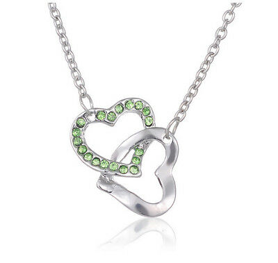 Womens Jewelry Fashion 925 Silver Plated Pendant Double Heart Charm Necklace