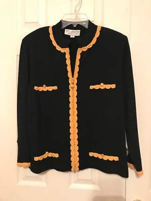 St John By Marie Gray Black & Gold Jacket Blazer Size Large New With Tags