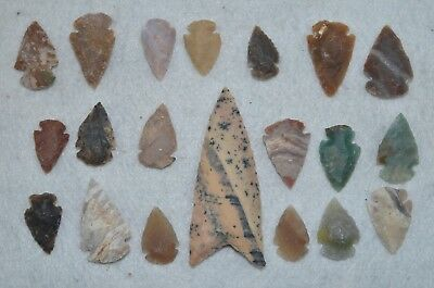 "20 PC Flint Arrowhead Ohio Collection Points 1-3"" Spear Bow Stone Hunting Blade"