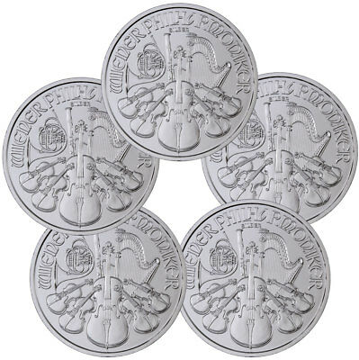 Lot of 5 2019 Austria 1 oz Silver Philharmonic €1.50 GEM BU SKU55549