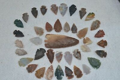 "39 PC Flint Arrowhead Ohio Collection Points 1-3"" Spear Bow Stone Hunting Blade"