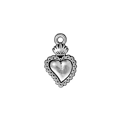 TierraCast Charm Heart Milagro, 21.5mm, Antiqued Fine Silver Plated Pewter,