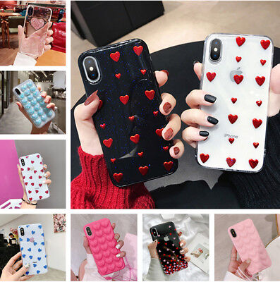 Various Love Heart Pattern Soft Rubber Case Cover For iPhone XS Max XR X 8 7 6s