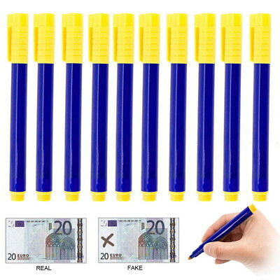 10PC Counterfeit Forged Fake Detector Marker Bank Note Checker Money Tester Pens
