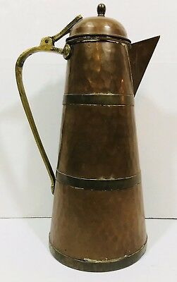 Antique Hammered Copper Plated Tea Pot Water Pitcher Brass Handle w/ Hinged Lid