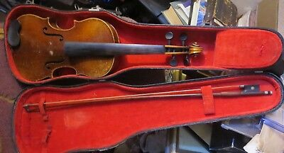 antique Violin Viola in case marked Ehregott Thoma Germany Geigenmacher