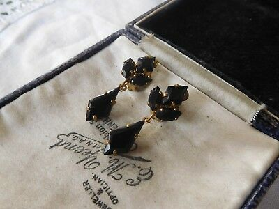 Dazzling Vintage 1950s Jet Black Crystal Clip On Earrings