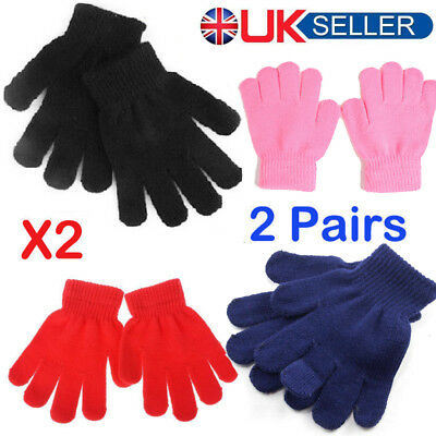 KIDS Magic Gloves Pair Winter Warm Girls Boys Stretch Black Soft Children Unisex