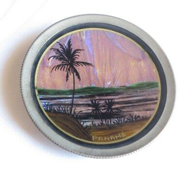 Butterfly Wing PANAMA Miniature Plate Souvenir Palm Tree Canal Brasil Vtg ab2441