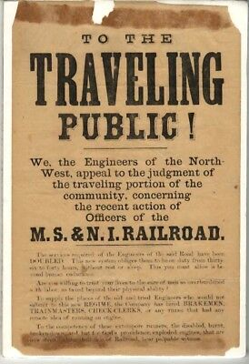 MICHIGAN SOUTHERN & NORTHERN INDIANA RR -  PUBLIC NOTICE  1860'S  EARLY  BofLE