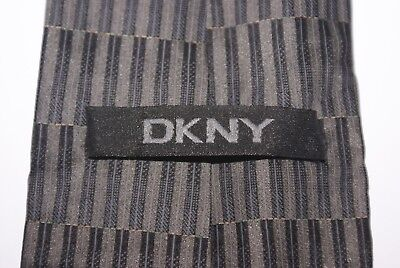 DKNY Silk Tie Grey And Black Patterned