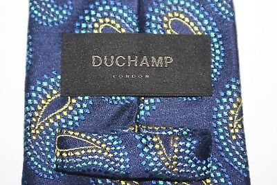 DUCHAMP Hand Made Silk Tie Blues And Gold Paisley Pattern