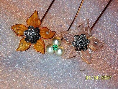 Vintage Lot Of 3 Antique Rhinestone-Lucite-Pearl Hat Pins
