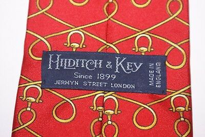 HILDITCH & KEY Silk Tie Red And Gold Link Pattern