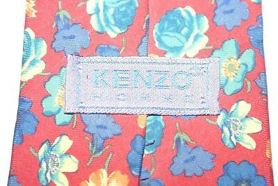 KENZO HOMME Silk Tie Red, Blues, Greens And Golds Floral Pattern