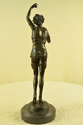 Art Deco Hand Made Semi Nude Female Model with Pose Bronze Sculpture Figurine