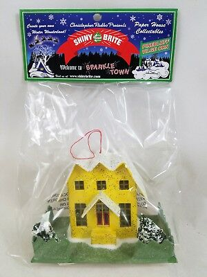 Radko Shiny Brite Pinebluff Village Ornament Yellow House NEW in Package