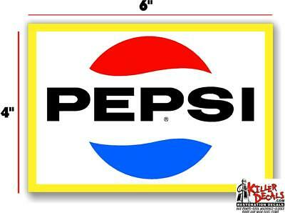"(Pc225) 12"" Yellow Pepsi For Soda Pop Vending Machine Decal Cooler Or Gumball"