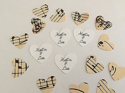 Personalised Wedding Table Confetti Vintage Music Style 50 hearts with names