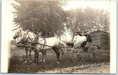 Wisconsin RPPC Real Photo Postcard Couple in Horse Cart 1910 WOODMAN WI Cancel