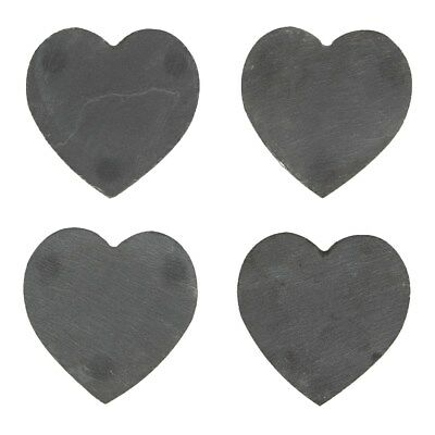 Heart Shaped Slate Coasters set of 4 10 cm with rubber feet grey slate