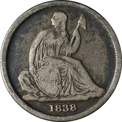 1838-O Seated Liberty Dime No Stars Nice VG+ Nice Eye Appeal Nice Strike