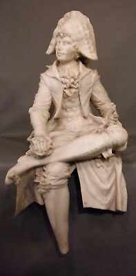 LG Antique COLONIAL MAN Sculpture PARIANWARE Old FAUX Carved ALABASTER STATUE