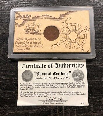 1808/1809 East India Company Shipwreck Coin From The Admiral Gardner In 1809