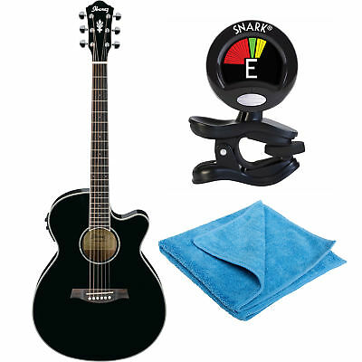 Ibanez AEG10II Acoustic Guitar in Black with Clip-On Tuner & Polishing Cloth