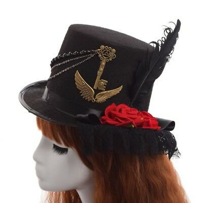 1pc Lolita Girls Steampunk Gear Floral Lace Hat Vintage Victorian Top Hat Party