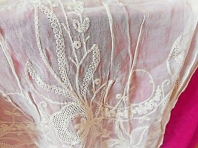 Antique French lace and embroidered textiles