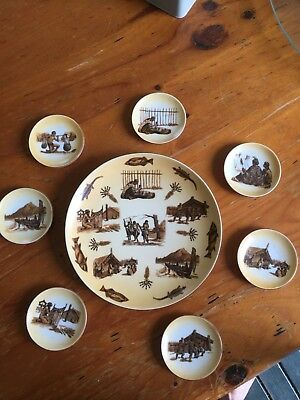 Maori New Zealand Vintage 1950's-60's  Plate With 7 Matching Miniature Plates