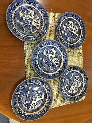 """Set of 5buffaloes Pottery Butter Pats,'BLUE WILLOW"""", 1911,"""