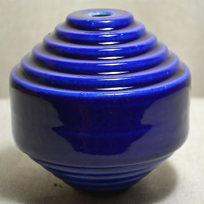 Vintage Cobalt Blue Spiral/staircase Porcelain Ceramic Lightening Rod Ball