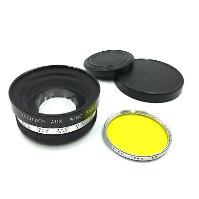 Yashica Y602 Yashikor Aux Wide Angle Lens 1:4 & 55mm Y2 Yellow Filter   #42330