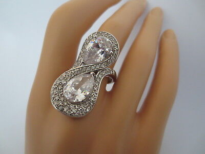 Massive $2500 Custom Made Sterling 18K Gold Matching Pear Shaped 20Ct Mogul Ring
