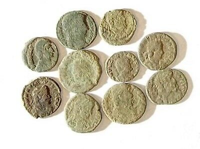 10 ANCIENT ROMAN COINS AE3 - Uncleaned and As Found! - Unique Lot 34404