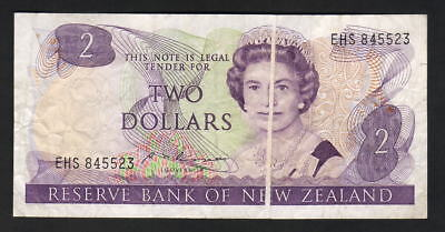 NEW ZEALAND - ERROR Note. $2 Russell (1985-89). 2mm wide vertical paper crease