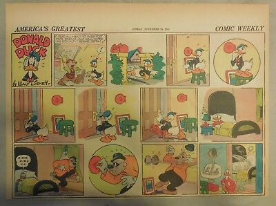 Donald Duck Sunday Page by Walt Disney from 11/24/1940 Half Page Size