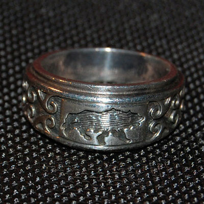 WOLFMAN BRS Engraved Silver 925 Ring Size U (UK)/10 (US) RARE Handmade In Japan