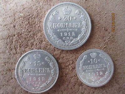 Lot of 3 silver coins. Russia ,Russian Empire,10,15,20 kopeks 1912