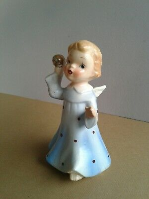 Vintage Wales Cherub Angel with Ball Made In Japan Ceramic Figurine blue dress.