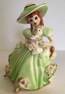 Vintage Figurine Lady with Brimmed Hat Holding Spaghetti Poodle