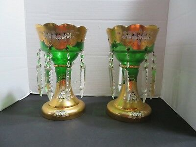 Pair Of Rare Antique Bohemian Czech Enameled Green Glass Gold Mantle Lustres